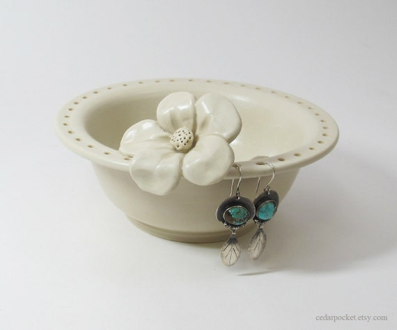 Creamy White Earring Bowl with a Hand Sculpted Flower and a Recycled Glass Puddle - discounted