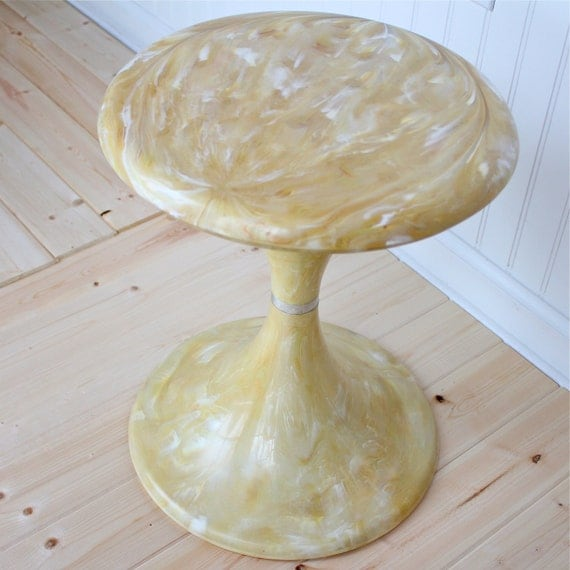 Reserved for Maria of Vintage Simple - Vintage Tulip Side Table, mid century modern, blonde plastic