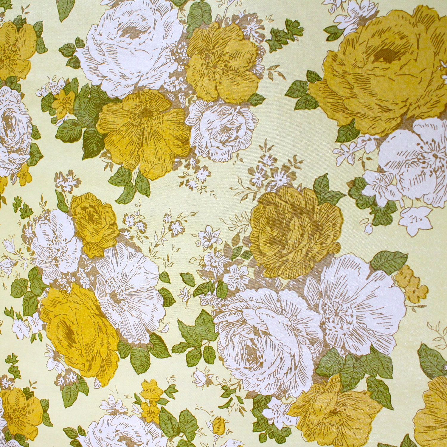 Complete roll of 1970s yellow floral wallpaper