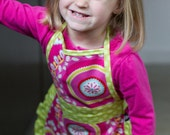 Personalized Frilly Girls Ruffled Apron - Pink and Green