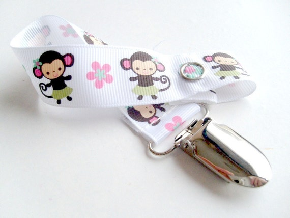 M2MG Cute Monkey Pacifier Clip or toy clip