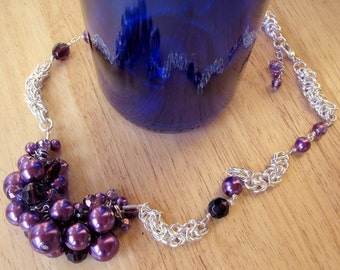 Handmade Chainmaille Necklace with Purple Beaded Cluster ~ Funky and Elegant!