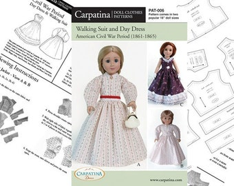 """Civil War Period Suit and Ball Dress Paper Pattern in two Dolls Sizes: for 18"""" American Girl size Dolls and for 18"""" Slim Carpatina dolls"""