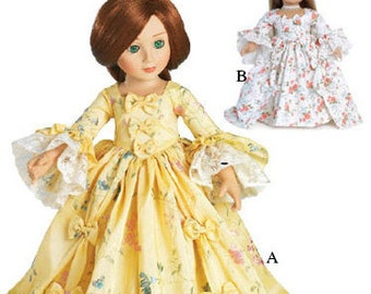 "Marie Antoinette Dress Pattern in two 18"" Dolls Sizes: for Slim Carpatina dolls and for the larger American Girl Dolls"
