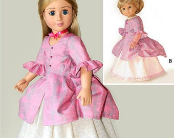 """Polonaise Dress, Printed Doll Clothes Pattern in two 18"""" Dolls Sizes: for Slim Carpatina dolls and for the larger American Girl Dolls"""
