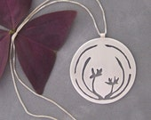 Japanese Orchids - Sterling Silver Graphic Contemporary Ethnic Circle Pendant with Chain Necklace (N116)