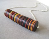 You Spin Me - Bright Yellow, Red, Black Vintage Vulcanite Heishe African Trade Bead Contemporary Ethnic Necklace Sterling Silver Chain (N44)