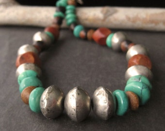 Earth and Sky Antique African Silver Trade Beads, Mixed Tropical Wood, Green Turquoise Contemporary Ethnic Rustic Necklace (N7)