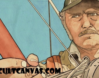 "Original JAWS ""Too Many Captains"" Captain Quint Art Print Poster by Phil Gibson"