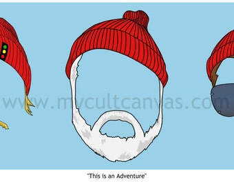 "Original ""This is an Adventure"" Art Print Poster by Phil Gibson Wes Anderson The Life Aquatic Steve Zissou"