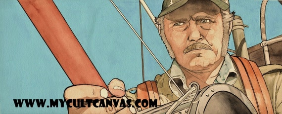 """Original JAWS """"Too Many Captains"""" Captain Quint Art Print Poster by Phil Gibson"""