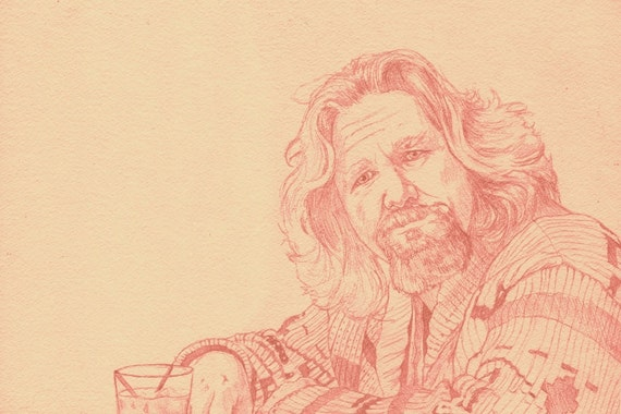 """The Big Lebowski The DUDE abides 12"""" x 18"""" Original Art Print by Phil Gibson Coen Brothers Sweater"""