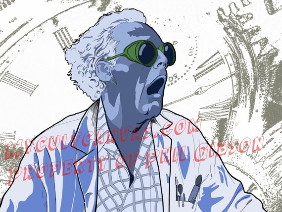 "Original ""Great Scott"" Art Print by Phil Gibson Doc Brown Back to the Future Marty Mcfly Delorean"