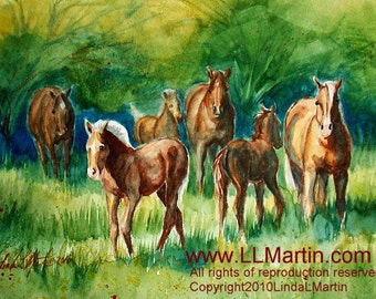 Horse Art Original Watercolor Painting  Mares Foals LLMartin Summer