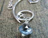 Spiral Necklace, Sterling Silver, Handcrafted, Blue Gemstone, Bubble, Wave, Swirl, Loop. GREEK ISLE NECKLACE with Sky Blue Topaz.