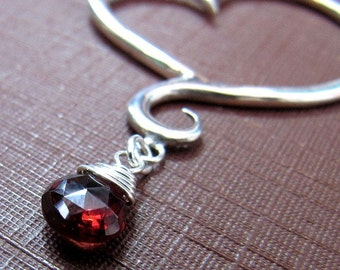 Heart Necklace, Sterling Silver, Handcrafted, Garnet, Swirl, Unique, Elegant, Love. APHRODITE NECKLACE with Garnet.