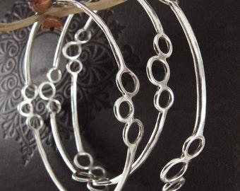 Stacking Bangles, Set of Three, Sterling Silver, Handcrafted, Bubble, Polka Dot, Bracelet. POLKA DOT BANGLES.