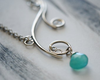 Spiral Necklace, Sterling Silver, Handcrafted, Aqua Gemstone, Bubble, Wave, Swirl, Loop. GREEK ISLE NECKLACE with Aqua Chalcedony.