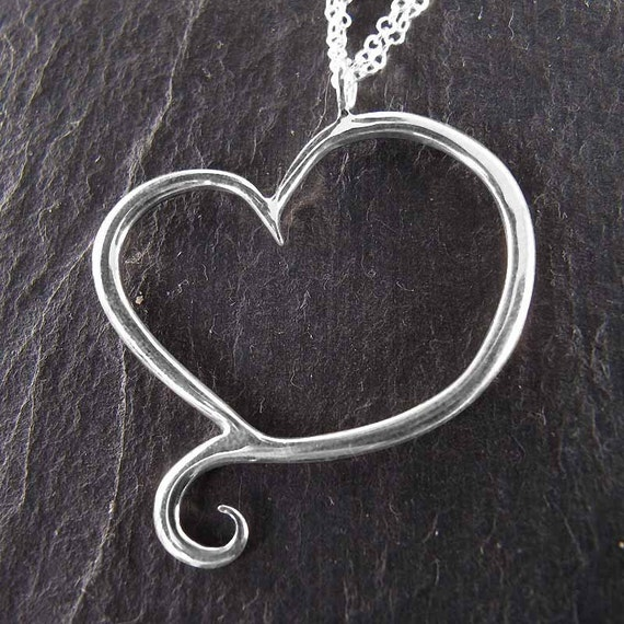 Heart Necklace, Sterling Silver, Handcrafted, Swirl, Unique, Elegant, Love. APHRODITE NECKLACE.