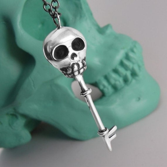 Skeleton Key Necklace, Skeleton Key Jewelry, Sterling Silver, Handcrafted, Day of the Dead, Oxidized.