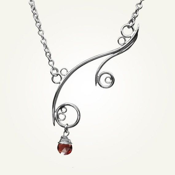 Spiral Necklace, Sterling Silver, Handcrafted, Red Gemstone, Bubble, Wave, Swirl, Loop. GREEK ISLE NECKLACE with Garnet.