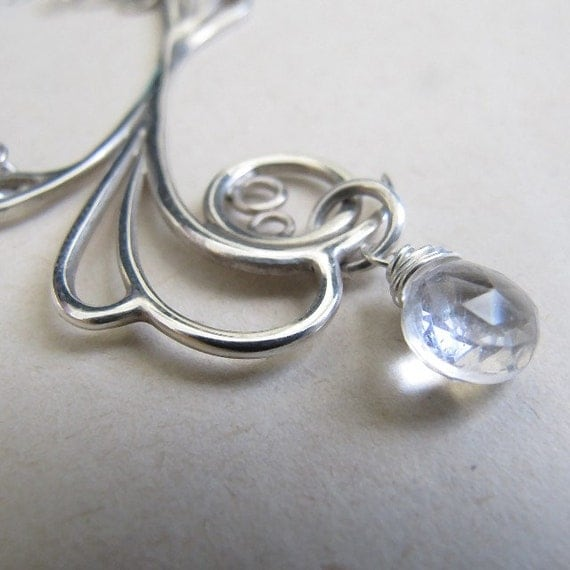 Flower Necklace, Sterling Silver, Handcrafted, White Topaz Gemstone, Bubble, Swirl, Spiral, Loop. MAYAN REEF NECKLACE with White Topaz.