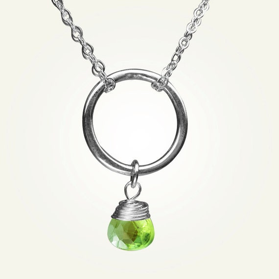 August Birthstone, Peridot Necklace, Peridot Jewelry, Green Gemstone ORBIT NECKLACE with Peridot.