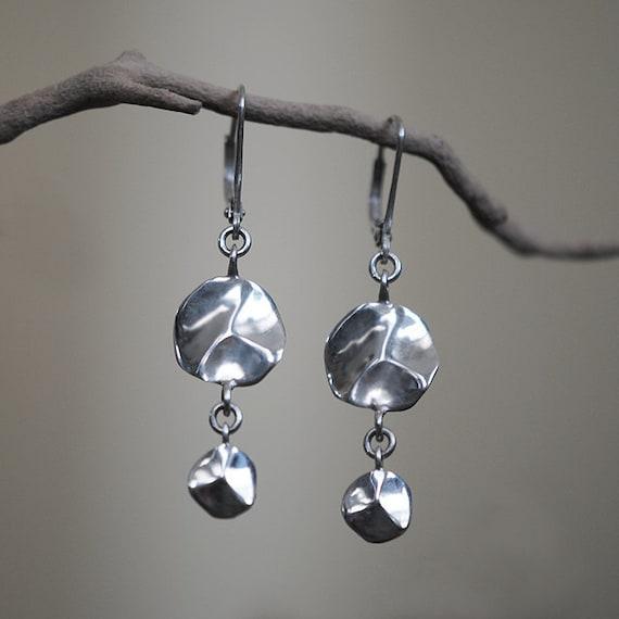 Wavy Disc Earrings, Sterling Silver, Handcrafted, Carved, Circle, Dangle, Lilypad, Ocean, Wave, Water. TIDE POOL EARRINGS.