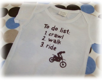 Baby toddler boy girl dirt bike onesie crawl walk ride got dirt