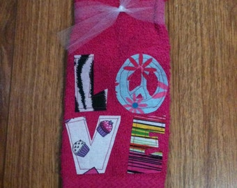 Pink Love wash cloth hand made towel Ready to ship