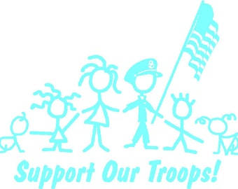 Support Our Troops Army Marine Navy stick person family decal sticker