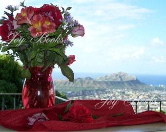 OVERLOOKING HONOLULU Hawaiian Flowers Note Card (Ocean View Tropical Flower Bouquet Blue Red Pink Purple Green)