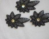 Vintage Black Lace Organza Embroidery Appliqué