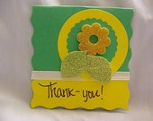 3 Green Cards With Yellow Trim and Flowers C22