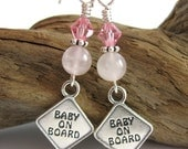 SUMMER SALE Baby on Board Pregnancy Earrings - Pink for Girls - Maternity Earrings
