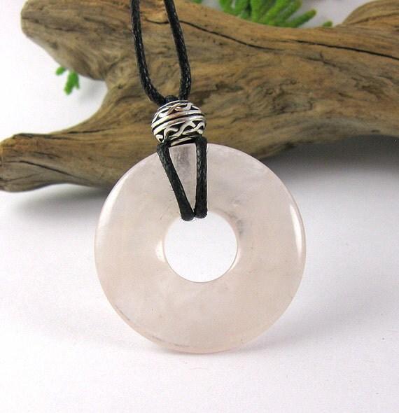 Celtic Baby Nursing Necklace - 30mm Rose Quartz Breast Feeding Necklace