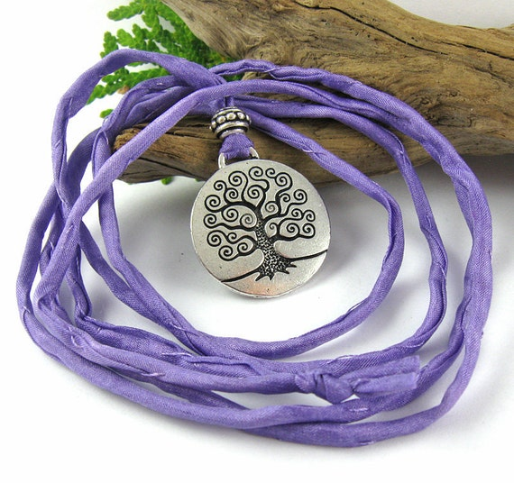 Tree of Life Birth Necklace - Mother's Necklace for Labor and Birth - Lilac Purple Silk
