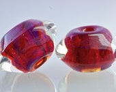 handmade glass bead set in rose red encased beads bicone pair for jewelry making