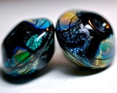Sale lampwork glass bead pairs for earrings dichroic beads organic style handmade glass beads in black by paulbead