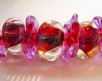 SALE Handmade glass lampwork beads boro bead set of 7  faceted roundels magenta purple