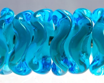 Handmade lampwork beads wavy disk beads in marine blue beads for jewelry making supplies