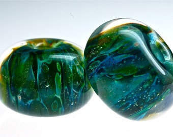 boro bead pair for earrings in deep sea greens for jewelry making by paulbead