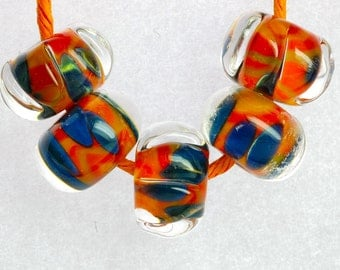 sra handmade lampwork beads boro beads sets brightly colored and faceted set of 5 beads by paulbead