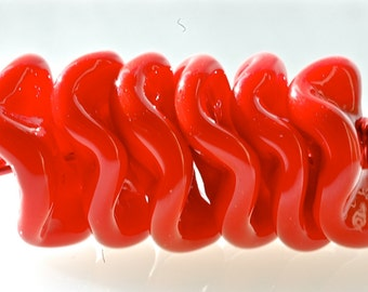 handmade lampwork glass beads bright red swirly disk beads 6 for jewelry making by Paulbead
