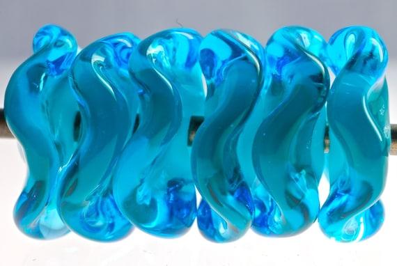 Handmade lampwork beads wavy disk beads in marine blue beads for jewelry making supplies