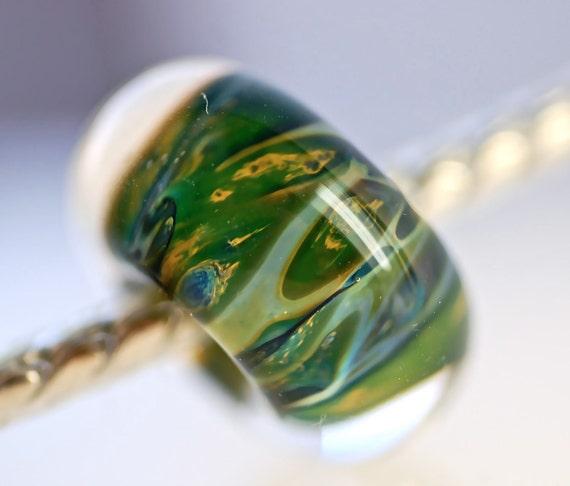 Euro style large hole lampwork bead for charm bracelets boro paulbead handmade bead charm big hole bead fits charm bracelets grass green