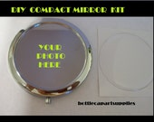 1 pc  DIY Chrome Silver Plated Compact Mirror Kit.  Make Your Own Personalized Mirror. Comes with Matching Epoxy Sticker to Seal Your Image