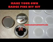 10 pcs   Make Your Own Badge Pins DIY Craft Kit.  Comes Complete with Matching Epoxy Sticker Seals.
