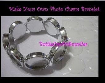 1pc   20MM Round  Photo  BLANK  Frame Charm Settings Bracelet with Matching 20mm Epoxy Sticker Seals KIT