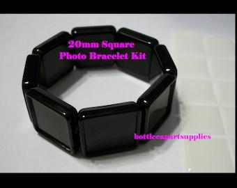 5pcs  20MM BLACK Square Photo  Blank  Frame Charm Settings Bracelet with Matching 20mm Epoxy Sticker Seals KIT